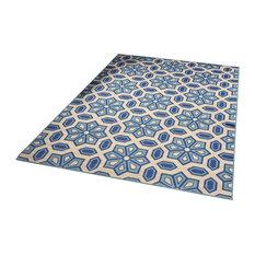 GDF Studio Henna Indoor Geometric 8x11 Area Rug, Ivory and Blue