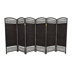 4' Tall Fiber Weave Room Divider, Black, 6 Panels