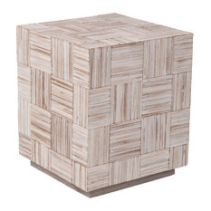 East At Main's Avalon Off-White Teakwood Square Accent Table