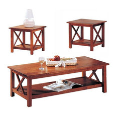 Coaster Briarcliff Casual 3 Piece Occasional Table Set, Burnished Oak