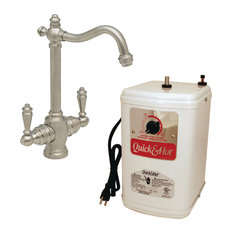 "Victorian 9"" Hot And Cold Water Dispenser And Tank In Satin Nickel"