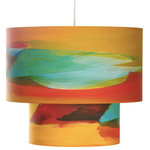 Rowan Chase - Citrus Double, 24 X 15, with Diffuser - Color your life and interior with these handmade Citrus double drum pendants lamp by Californian artist Rowan Chase. Lamps are constructed on white powder coated lampshade rings; Rowan Chase artwork printed on 100% Cotton Velvet Watercolor paper, a white 10 foot cord with porcelain fixture, and white ceiling canopy. Available in three size of which the two large sizes (12 / 18 ) and (18 / 24) have a three head fixture in the top portion and a single fixture in the bottom to give the ultimate glow. Lamps come assembled and ready for installation. Handmade in California one shade at a time by Rowan Chase in his studio.