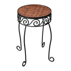 Panacea Steel and Wicker Ground Plant Stand, Brown