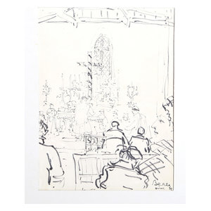 "Dimitrie Berea ""Interior Of Church, 30"" Marker Drawing"