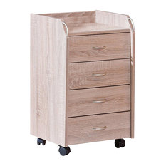 Modern Chest of Drawers, Solid Wood With 4-Drawer, 4 Castor Wheels, Sonoma Oak