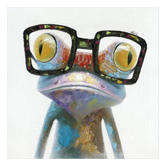 Hipster Froggy Art Painted On Canvas