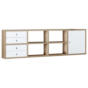 Torero Modular Sideboard With Four Drawers and Cupboard, White and Oak