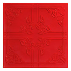 "20""x20"" Ivy Leaves, Styrofoam Ceiling Tile, Red"