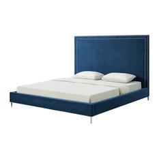 Giovanna Nailhead Trim Platform Bed, Navy Velvet, King