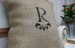 Monogrammed Burlap Pillow Cover by myadobecottage on Etsy