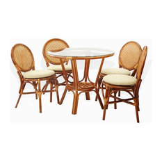 Rattan USA   3 Piece Denver Dining Rattan Wicker Side Chairs And Round Table  Glass