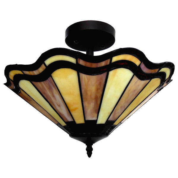 Tiffany-Style 2-Light Semi-Flush Mount