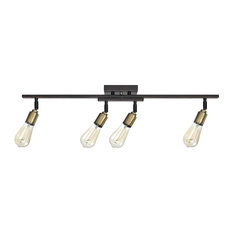 50 most popular track lighting for 2018 houzz globe electric bryce 4 light oil rubbed bronze and antique brass track lighting aloadofball Gallery