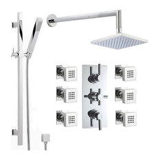 hudson reed chrome shower system with rain head u0026 extended arm handset 6 jets