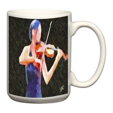 "Violinist ""The Bowist"" 15 Oz Ceramic Grande/ Latte Mug"