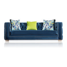 Furniture Of America E Commerce By Enitial Lab   Hailey Sofa, Dark Blue  Velvet