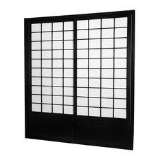 7' Tall Zen Shoji Sliding Door Kit, Double, Sided, Black