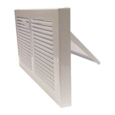 """White Baseboard Register With Plate Damper, 12""""x8"""""""