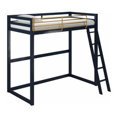 Little Seeds Monarch Hill Haven Twin Metal Loft Bed, Navy Blue and Gold