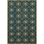Momeni - Veranda Indoor/Outdoor, Hand-Hooked, UV Protected Rug, Blue, 8'x10' - Elegant traditional designs and subtle transitional motifs adorn these unique outdoor rugs. Hand-hooked of 100% polypropylene, Veranda is completely outdoor-friendly. With their EZ Care system, you just hose them down and they will offer years of outdoor enjoyment. UV protected and mildew resistant.