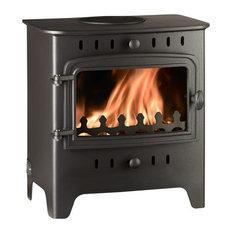 Villager C Flat Solo Wood Burning Stove, Black, 5.0kW