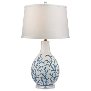 Sixpenny Blue Coral Table Lamp in White