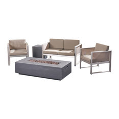 GDF Studio Eddy Outdoor Aluminum 4 Seater Chat Set with Fire Pit