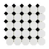 "11.5""x11.5"" Victorian Octagon Mosaic Tiles, Set of 10, White/Black"