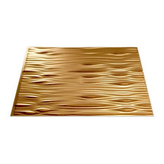 """18""""x24"""" Fasade Waves Backsplash Panel, Polished Copper"""