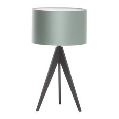 Artist Tripod Table Lamp With Black Base, Teal Cotton Shade