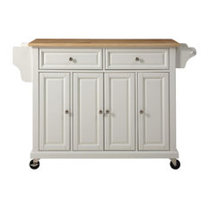 Natural Wood Top Kitchen Cart/Island, White Finish