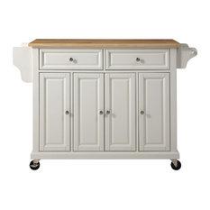 Natural Wood Top Kitchen Cart/Island, White Finish