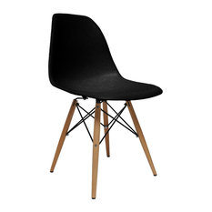 Fine Mod Imports Wood Leg Dining Side Chair, Black