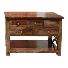 Portland Solid Wood 4 Storage Drawer Console Foyer Table