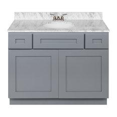 Cherry Bathroom Vanity 42-inch Cara White Marble Top Faucet LB3B