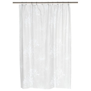 Cologne Fabric Shower Curtain With Poly Taffeta Flocking In White Spa Blue
