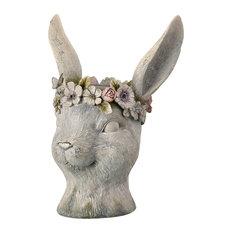 Floral Rabbit Head Planter With Pastel Flowers Garden Statue