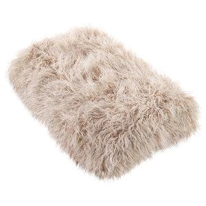 """Mongolian Faux Fur Throw, Oatmeal, 50""""x60"""""""