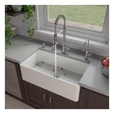 "ABF3318S 33"" White Thin Wall Single Bowl Smooth Fireclay Kitchen Farm Sink"