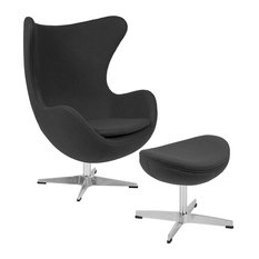 Flash Furniture - Flash Furniture Gray Wool Fabric Egg Chair With Tilt-Lock Mechanism and Ottoman - Armchairs and Accent Chairs