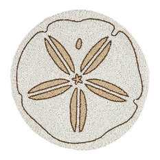 Sand Dollar Hand Beaded Round Placemat or Table Charger Plate