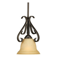 Torino 1-Light Mini-Pendant, Forged Bronze, Tea-Stained Glass