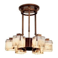 Bedford 6-Light Chandelier With Wood Accents, Antique Copper, Iridescent