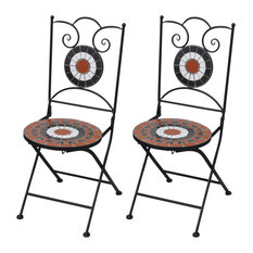 VidaXL Mosaic Bistro Chairs, Terracotta and White, Set of 2
