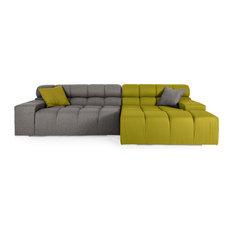Kardiel   Cubix Modular Cashmere Sofa Sectional, Deco Moss/Cadet Gray,  Right Facing