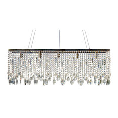 "Lightupmyhome 40"" Sofia Glass Crystal Rectangular Chandelier, Antique Brass"