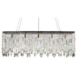 "Lightupmyhome 40"" Sofia Glass Crystal Rectangular Chandelier, Antique Brass"