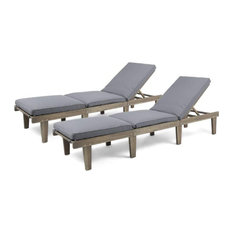 Set of 2 Lounge Chair, Acacia Wood Frame With Water Resistant Dark Grey Cushion