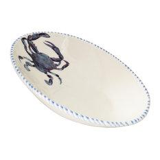 Blue Crab Diagonal Serving Bowl, Medium