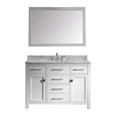 "Virtu Caroline 48"" Single Bathroom Vanity, White With Marble Top, With Mirror"